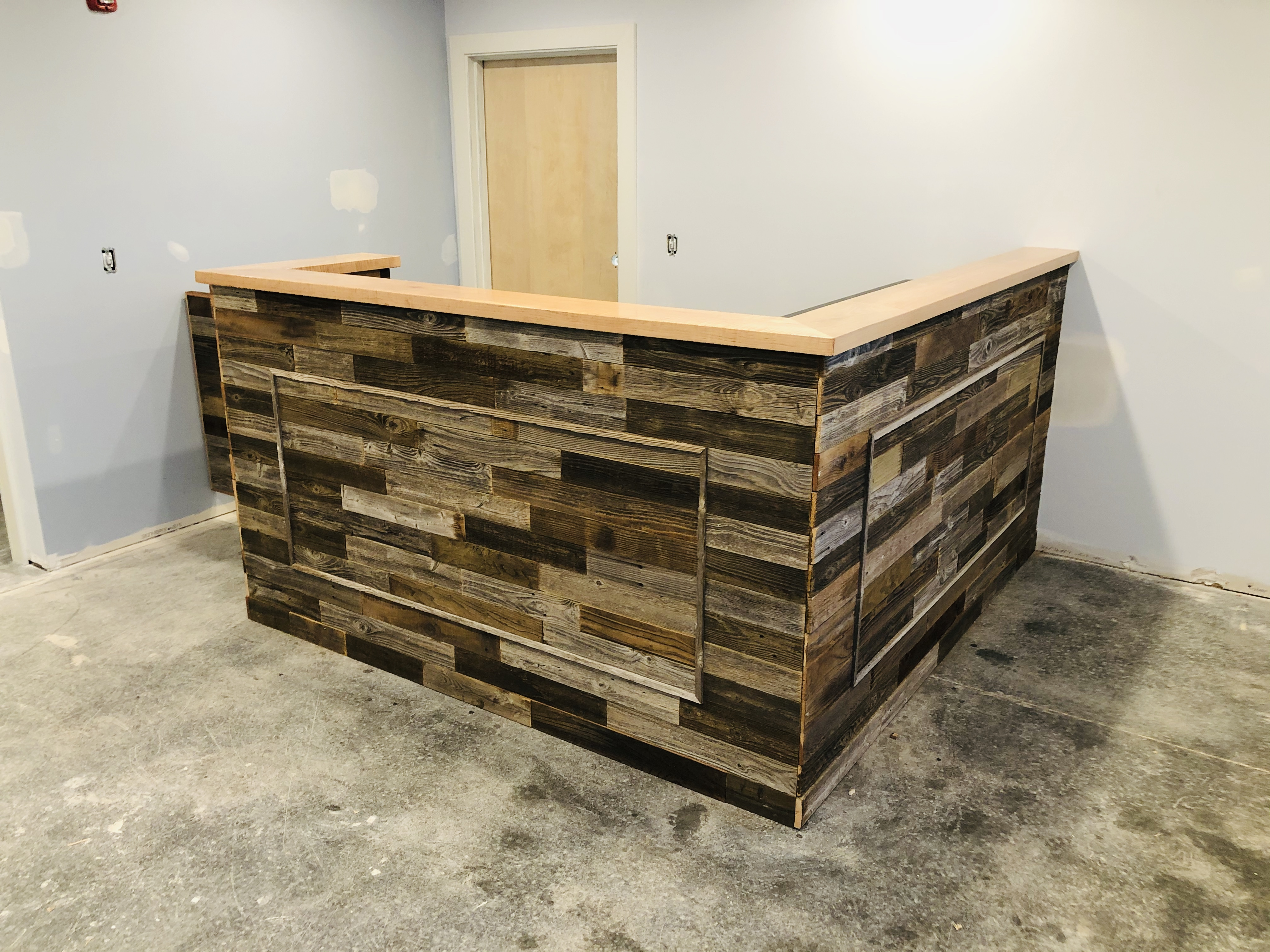 Pallet wood reception area